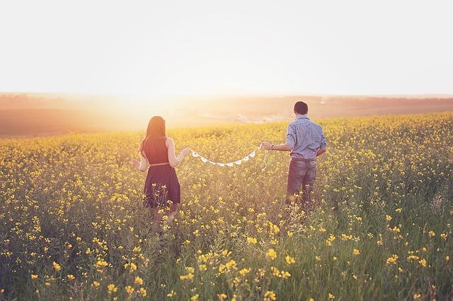 夕日を見るカップルの画像