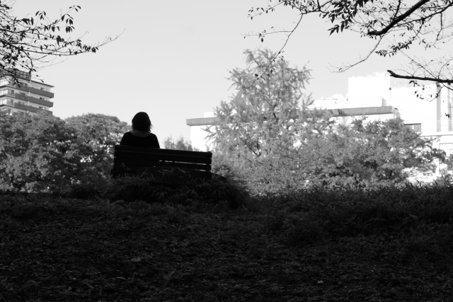 公園のベンチに座る女性の画像