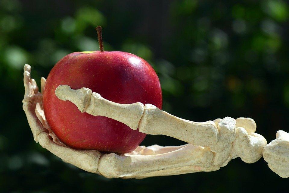 毒リンゴを持つ骸骨の手のひら