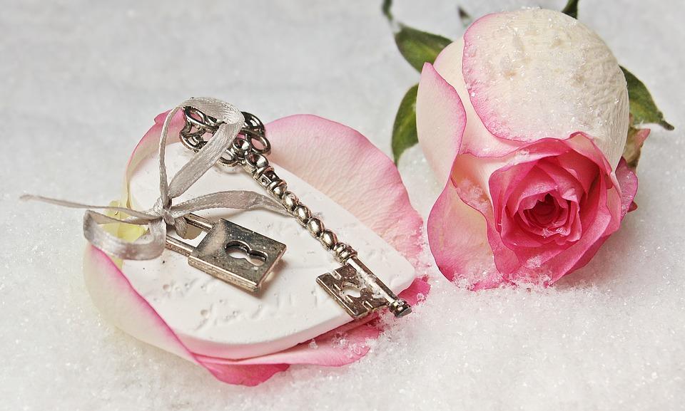 花びらの上に鍵がかかったハートと鍵が乗っている