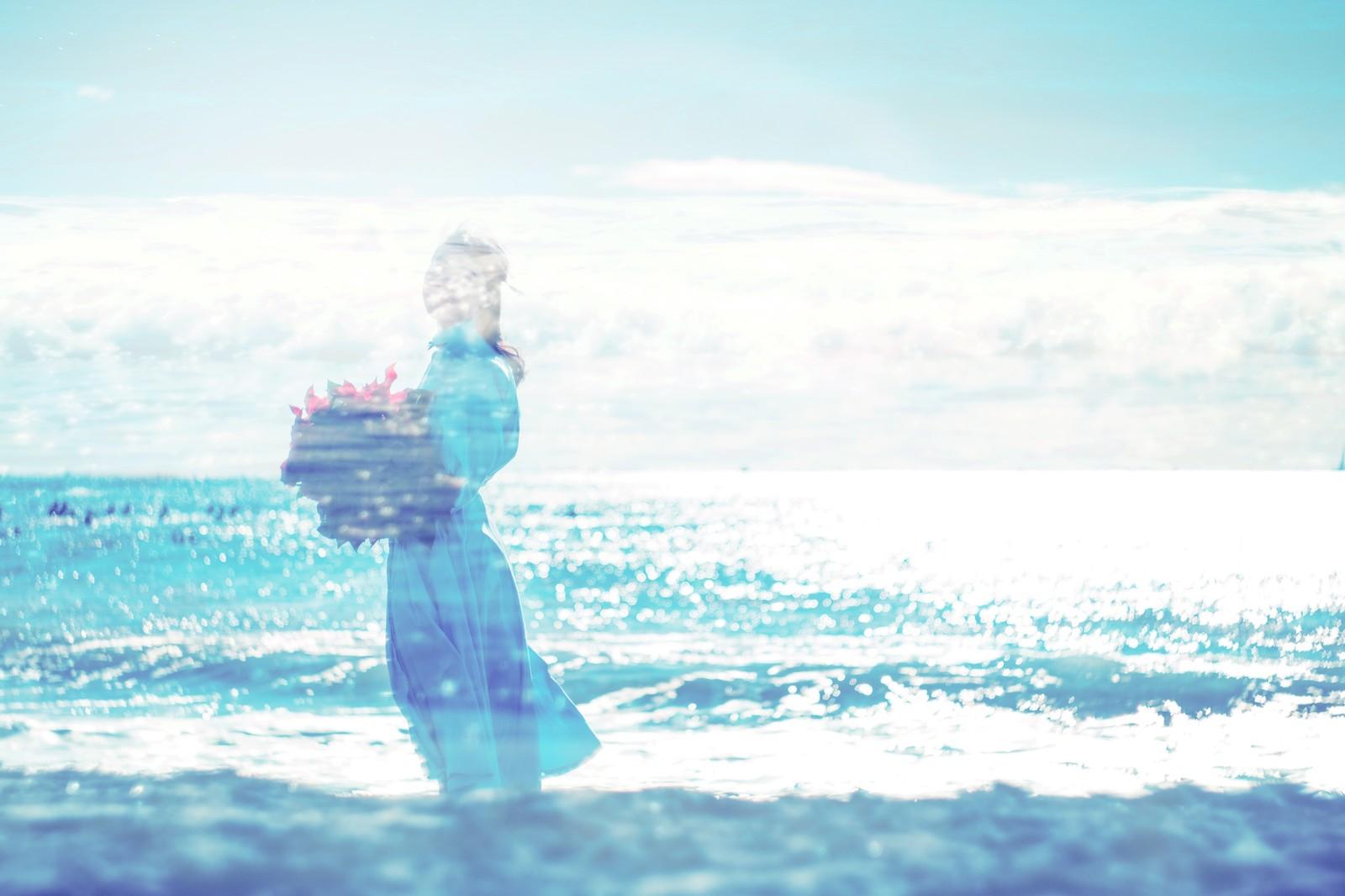 花束を持ち海辺を眺める女性