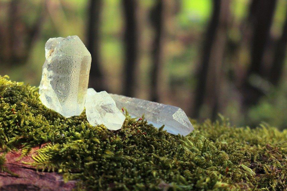 草の上に置かれた綺麗な石英